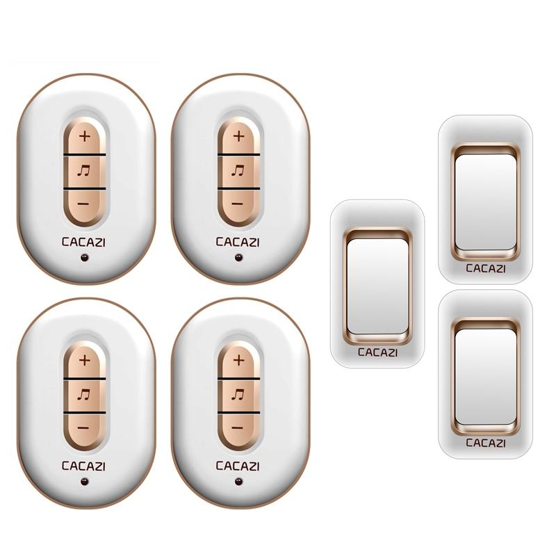 CACAZI AC 110-220V waterproof 300M remote home wireless doorbell,3 transmitters+4 receivers 48 melodies 6 volume door chime cacazi a9 3 ac 75 250v wireless doorbell 1 waterproof button 3 receivers 52 ringtones 4 volume 300m remote electronic doorbell