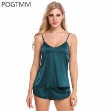 Summer Satin Pajamas Set Camis Top and Shorts Pyjamas Suit Cute Woman Home Night Sleep Clothes Soft Sexy Sleepwear Nightwear
