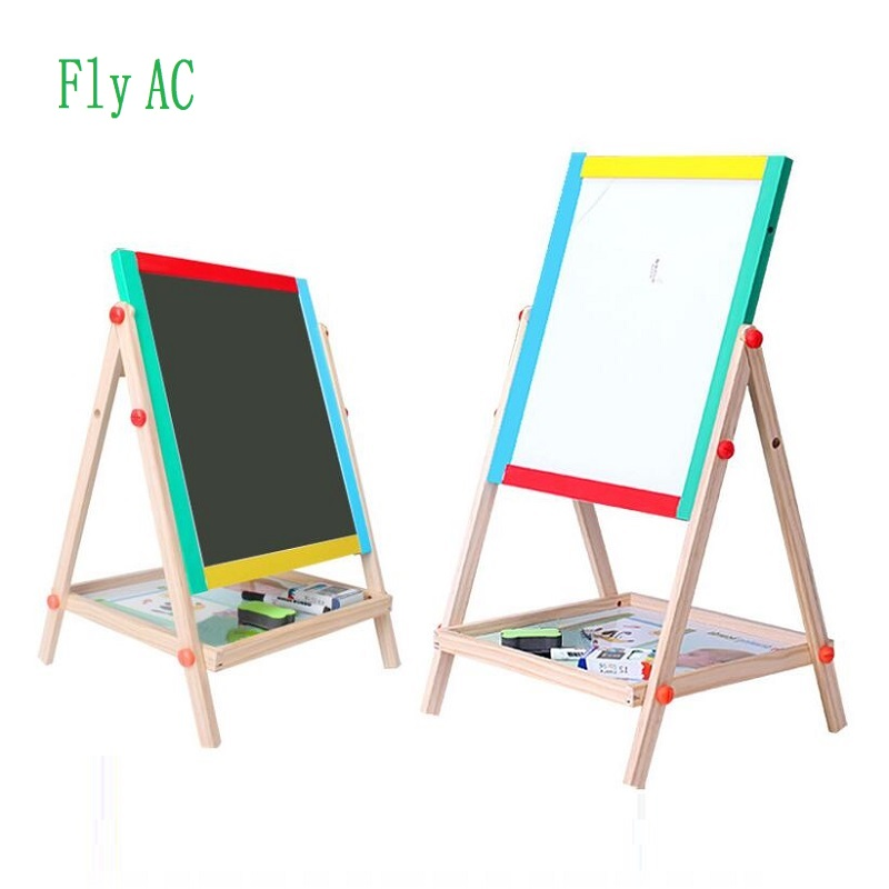 Fly AC Wooden Toys Easel Kids Double-sided Drawing Board Painting Blackboard Learning & Education Toys For Children gift
