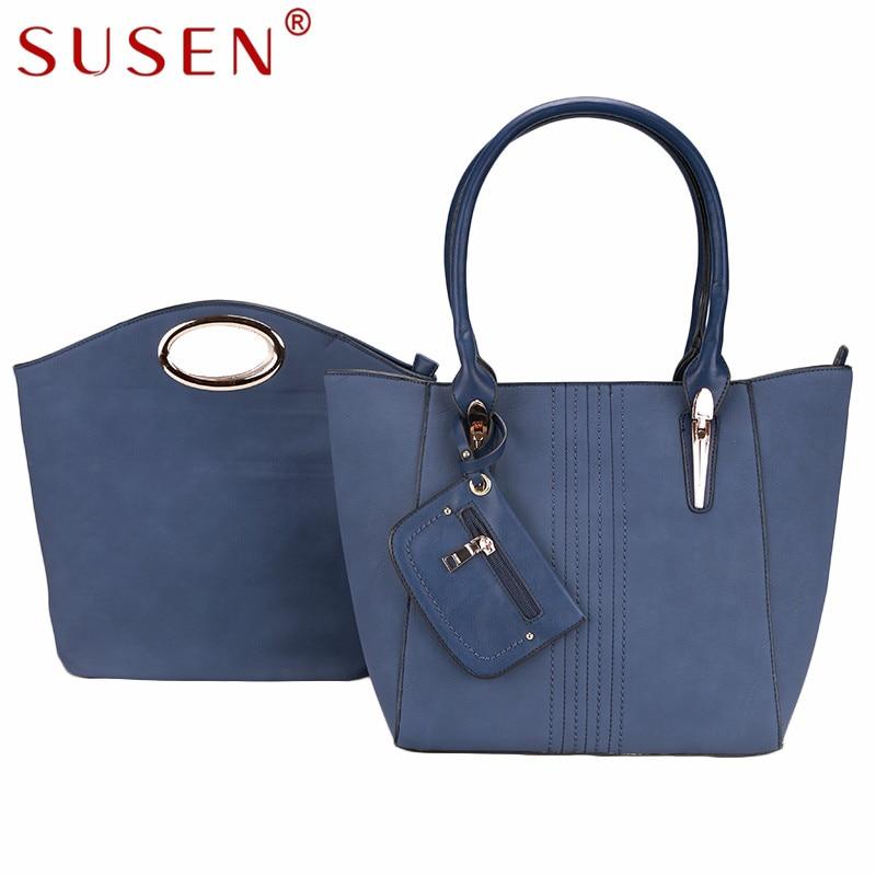 SUSEN 4180 high quality Luxury leather fashion noble Tote Women lady Handbag+small Round Handle handbag composite bags 2pcs sets