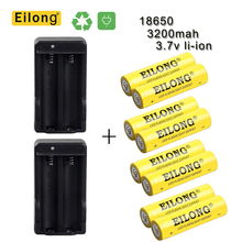 Купить 8Pcs 3.7V 18650 Rechargeable Battery 3200Mah Rechargeable Lithium Batteries With With Dual Charger Built-In Ic Protection