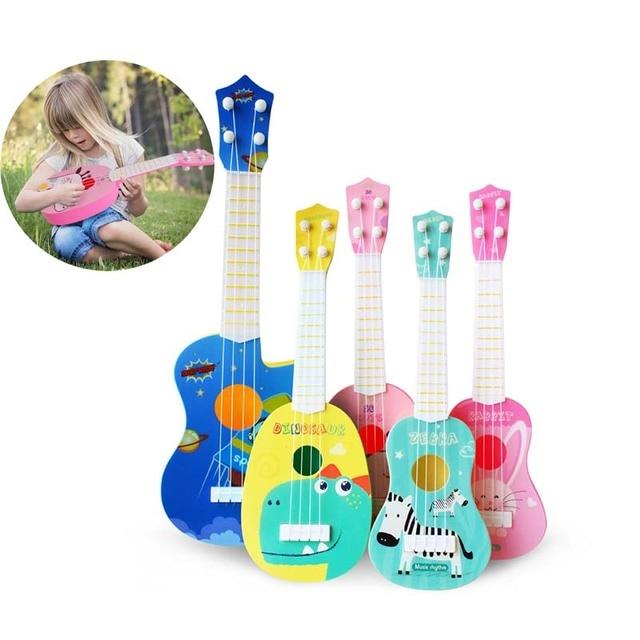 Divertido ukelele instrumento Musical niños guitarra Montessori juguetes para niños Juegos Escolares educación Navidad cumpleaños regalo