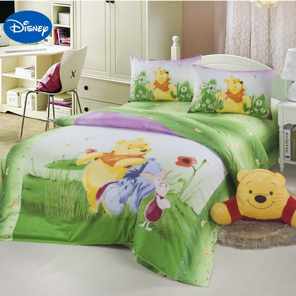 Winnie the pooh toddler bedding - Green Disney Cartoon Winnie The Pooh Bed Set For Children S Bedroom Decor Cotton Bedding Duvet Cover