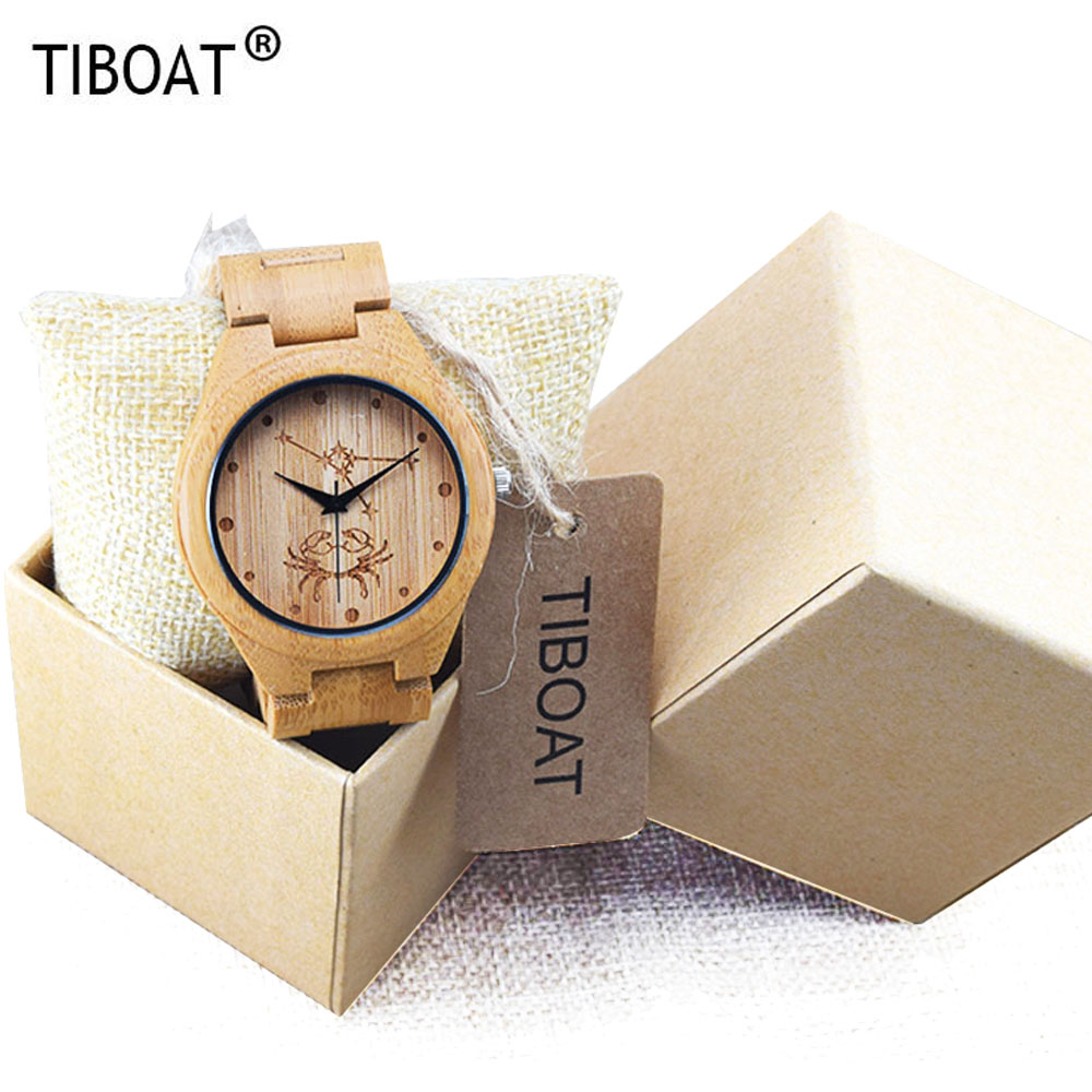 TIBOAT Brand Luxury Wood Watch for Men Newest Quartz Watch Bamboo Wooden Wrist Watch for Boys Relogio Masculino Nature Design 2017 pure face design wooden watch for