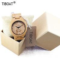 TIBOAT Brand Luxury Wood Watch for Men Newest Quartz Watch Bamboo Wooden Wrist Watch for Boys Relogio Masculino Nature Design