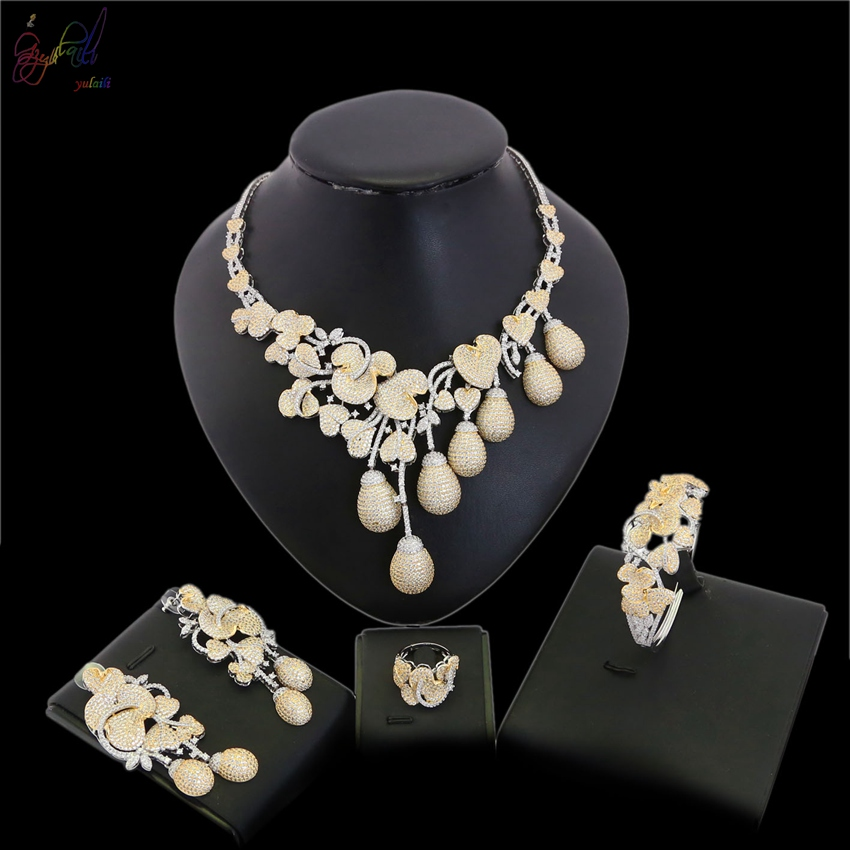 Yulaili personnalité européenne et américaine sauvage or bracelet et collier hommes titane acier audacieux décoration bijoux ensemble