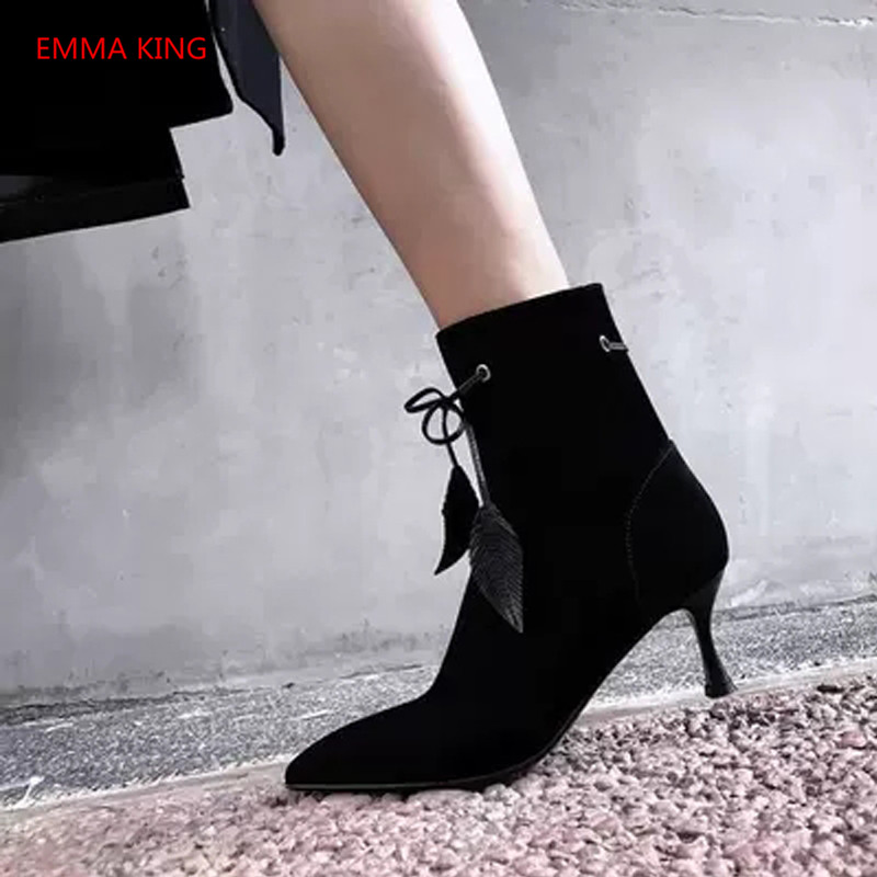 Luxury Suede Lace Up Women's Ankle Boots Pointed Toe Sexy Black Purple High Heels Winter Ladies Shoes Runway Woman Martin Boots