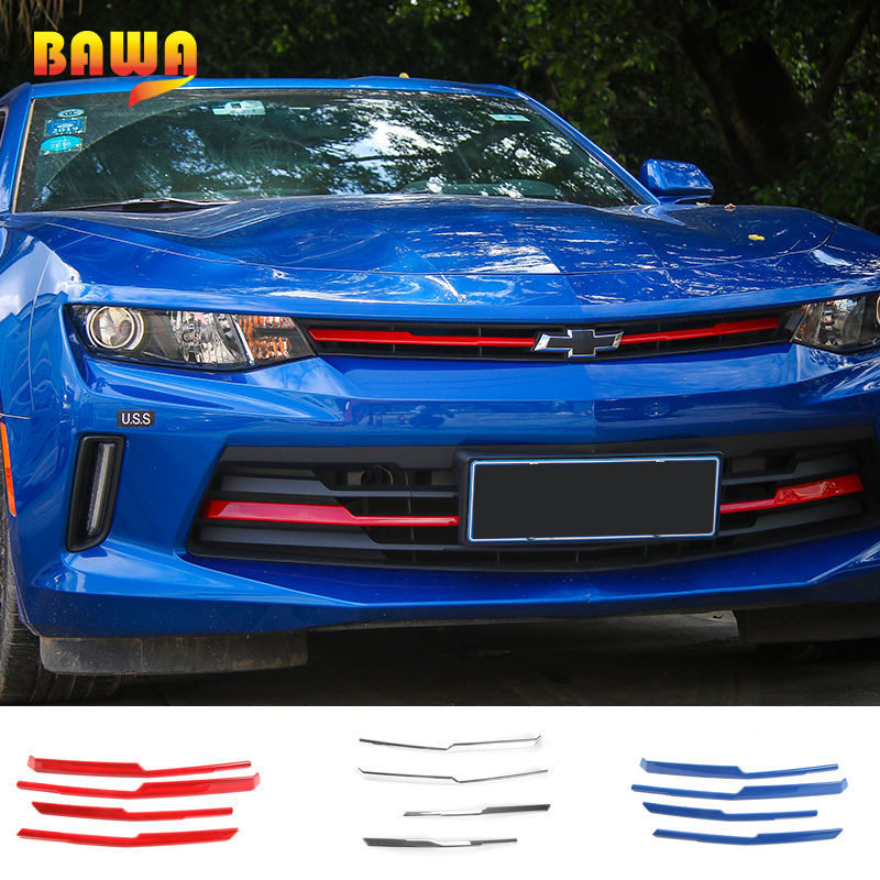 HANGUP ABS Front Grille Cover Strips Decoration Trim Exterior Accessories Stickers For Chevrolet Camaro 2017 Up Car Styling accessories for chevrolet camaro 2016 2017 abs carbon fiber style the co pilot central control strip molding cover kit trim page 2