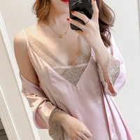 2019 Spring New Sexy Blace Lace Trim Home Dress Women Robe Set Gowns Sleep Suit Kimono Bathrobe Dressing Nightgown Nightdress