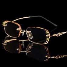 Модные стразы, очки для чтения, лупа для женщин, алмазная резка, очки без оправы, золотые, фиолетовые, для чтения, очки для дальнозорких глаз D5