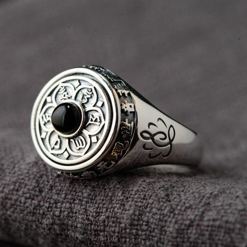 925 Sterling Silver Lotus Rings For Women And Men Rotatable Natural Stone Inlaid Six Words' Mantra Rings Buddhist Jewelry