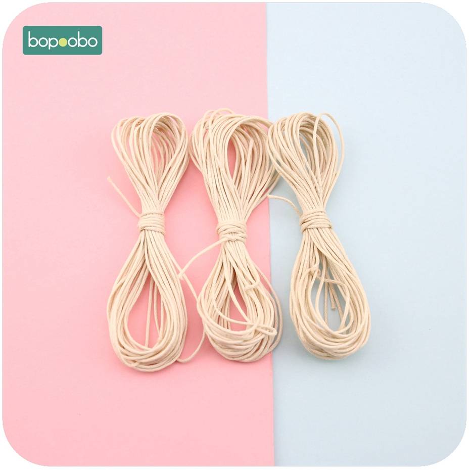 Bopoobo Baby Teether Accessories DIY Rope 5 Strands Waxed Twisted Waxed Cotton Cord String Thread Line 1mm 25 Meters Nylon Rope