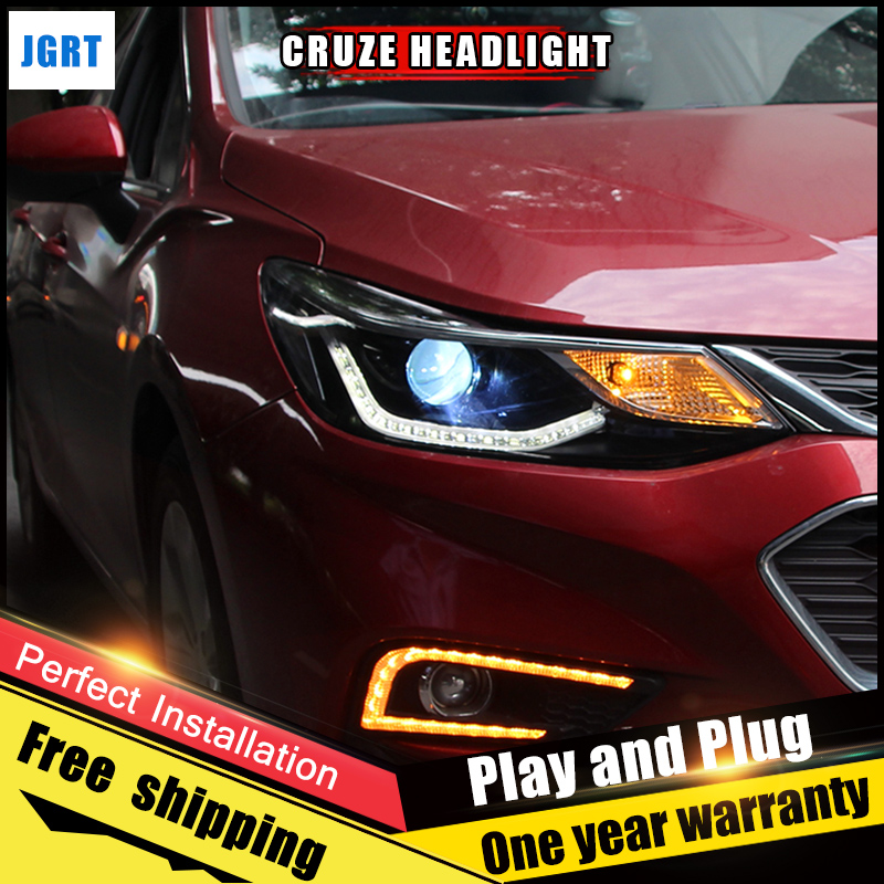 2PCS Car Style LED headlights for Chevrolet Cruze 2017-2018 for Cruze head lamp Lens Double Beam H7 HID Xenon bi xenon lens hireno headlamp for mercedes benz w163 ml320 ml280 ml350 ml430 headlight assembly led drl angel lens double beam hid xenon 2pcs
