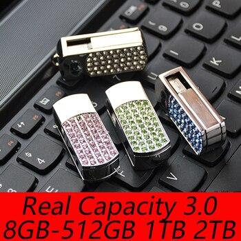 Jewelry Swivel Usb Flash Drive 3.0 128GB 16GB 32GB 64GB Crystal Pen Drive Pendrive 1TB 2TB Creativo Flash USB Memory Stick Gift