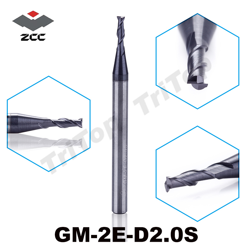 5pcs/lot ZCC.CT GM-2E-D2.0S 2.0mm cobalt tungsten carbide cnc end mill milling tools 2 flute flattened end mills cutting tool чехол на сиденье skyway chevrolet cobalt седан ch2 2
