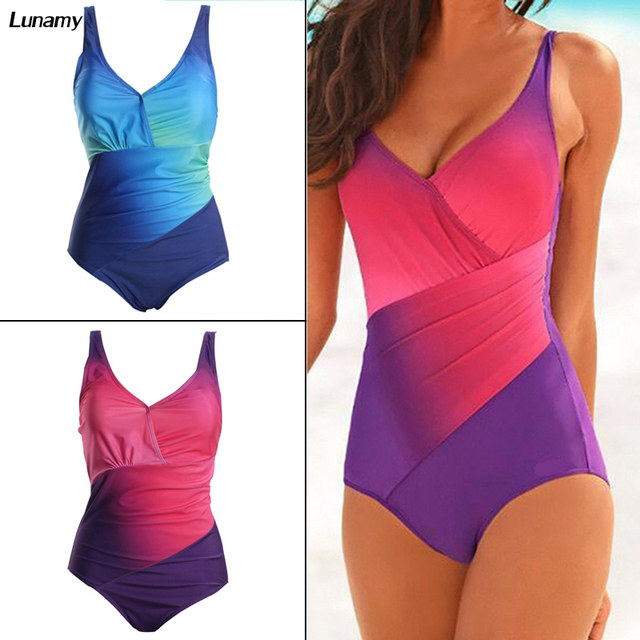 f061c38d6d Lunamy Rainbow Gradient Color One Piece Swimsuit Women Plus Size Swimwear  Adjustable Straps Bathing Suit Sexy Push Up Bodysuit