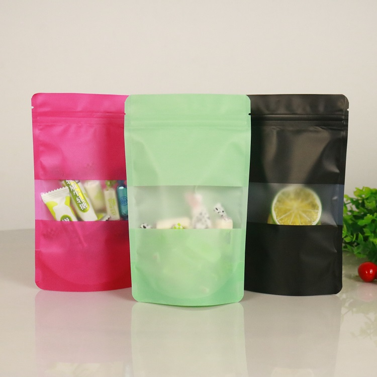 Plastic-Bag Self-Sealing-Bag Tea-Packaging Gift Fruit Window Colourful Standup with Matt