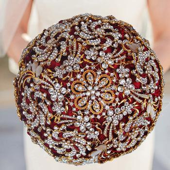 Złoty kryształ bukiet ślubny czerwony kwiaty ślubne bukiet ślubny De Mariage akcesoria ślubne sztuczne bukiety ślubne tanie i dobre opinie Poliester W888G LBKKC DRESSES