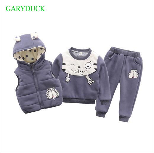 New 2018 Winter Thicken Warm Pure Cotton Clothes Baby Boy Clothing Sets Cartoon Cat Pattern  Hooded 3 Pieces Sports Suit new 2017 winter baby boy cotton padded thicken warm fleece inside clothing sets 2pcs coat jeans kids clothes sets