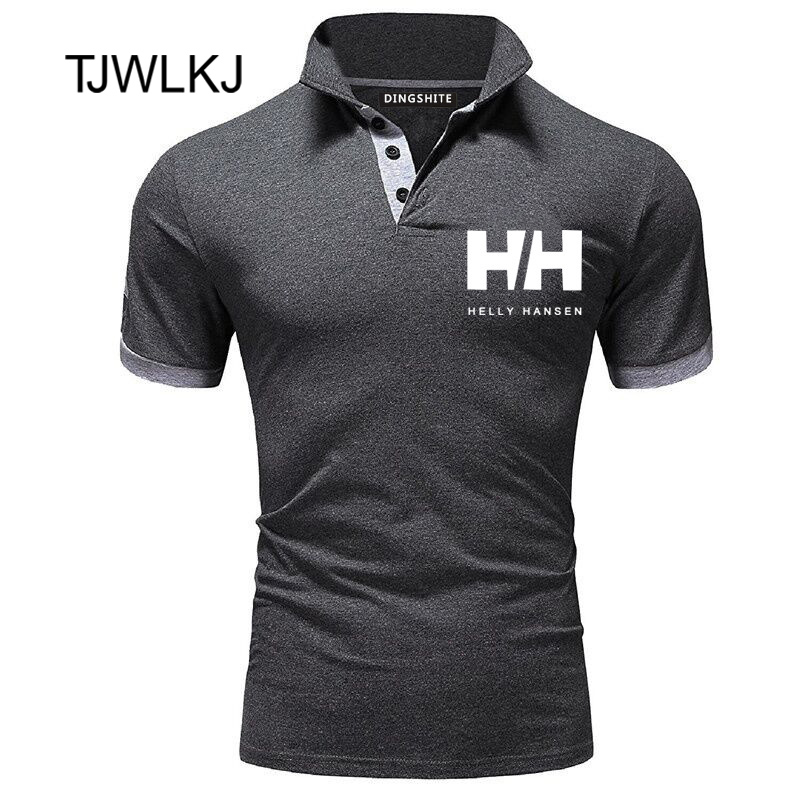 TJWLKJ Men Clothes 2019 H Letter Print Men PoloShirt Mens Short Sleeve Solid   Polo   Shirt Casual Slim Tops Camisa   Polos   Masculina