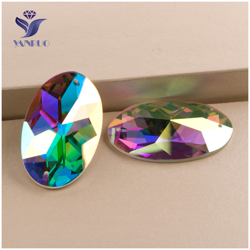 YANRUO #2052TH AB Flatback Glass Beautiful Strass Rhinestone Oval Crystal Craft Sew On Stones For Clothes Decoration