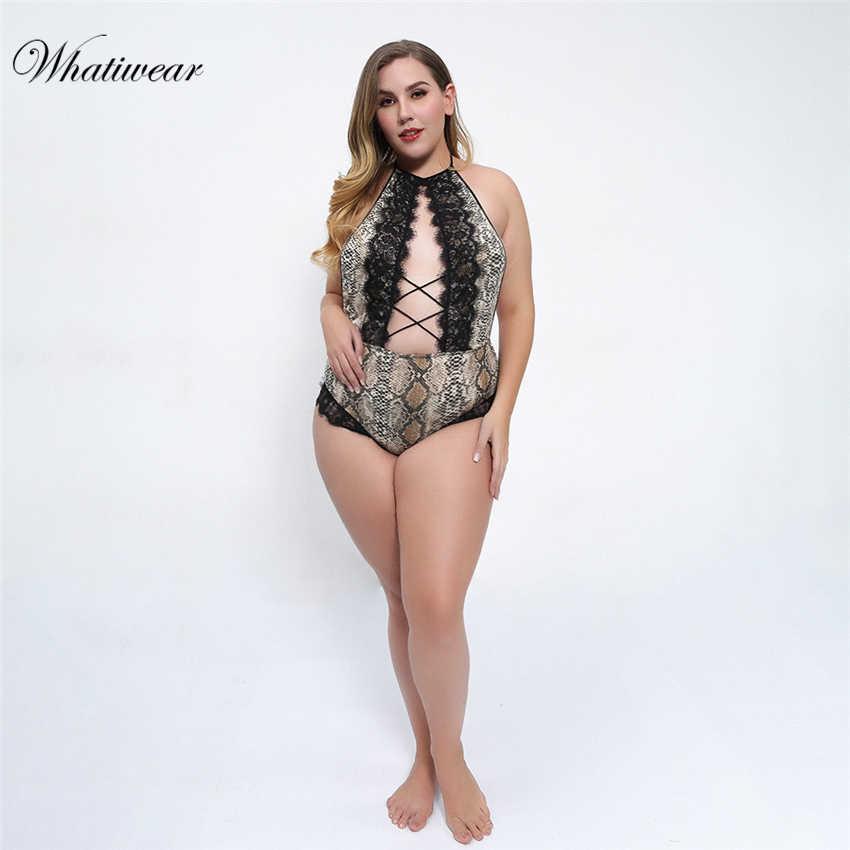 2019 открытый комбинезон женский топ сексуальный прозрачный цельный кружевной комбинезон большого размера Femme комбинезон