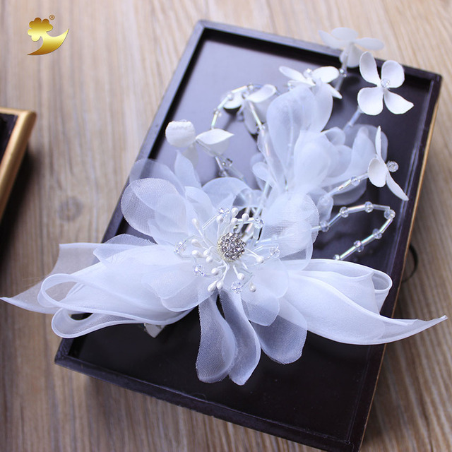 Xinyun new white flower headbands hair clips bridal head accessories xinyun new white flower headbands hair clips bridal head accessories wedding bride wreath hair jewelry wedding mightylinksfo