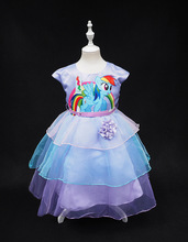 2016 little girls new fashion color gauze dress girls tutu dress My pony kids cartoon princess baby chiffon sequin dress clothes