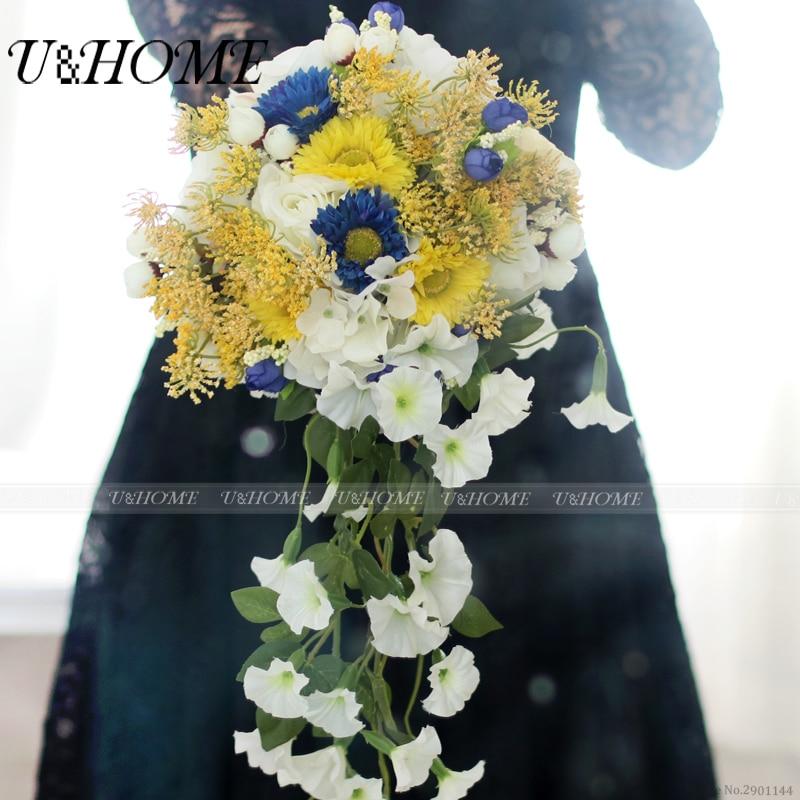 Artificial bride bouquet DIY <font><b>flower</b></font> silk rose yello lace blue daisy morning glory for home wedding decoration bulk high quality