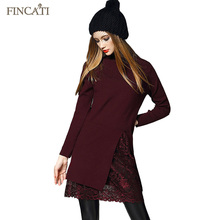 2016 European Turtleneck Collar Pullovers Patchwork Lace Skirt Elastic Long Knitted Sweater Dress Multicolors Sweaters Knitwear