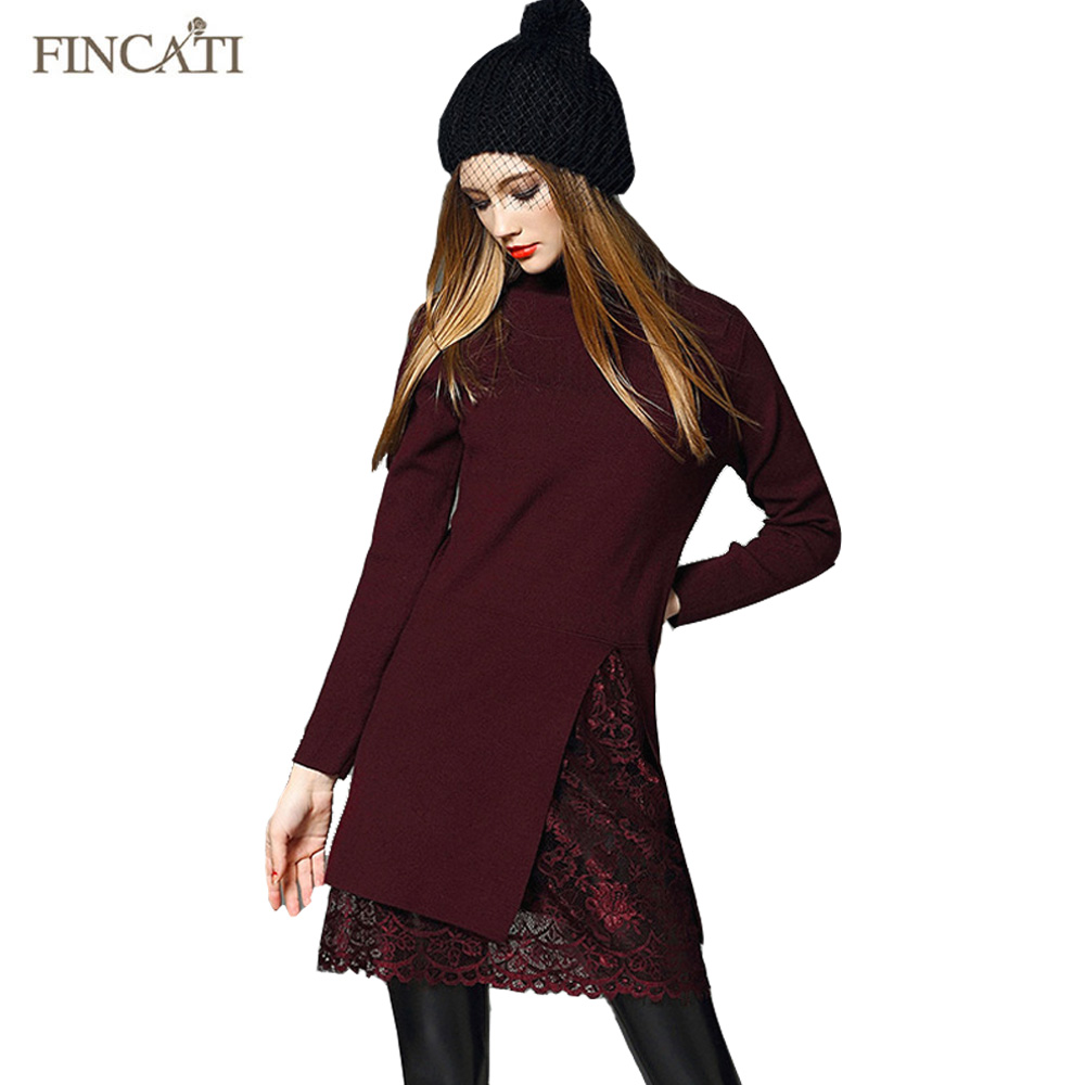 2018 femmes pull robe européenne col roulé pulls dentelle jupe élastique Long tricoté multicolore chandails tricots