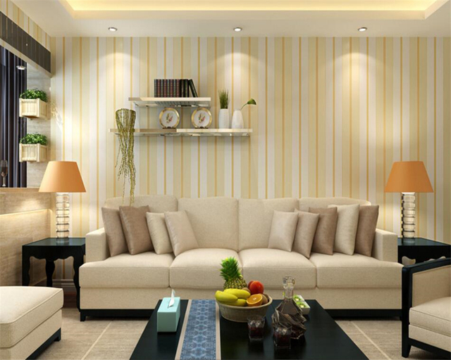 Beibehang vertical striped wallpaper 3d living room dining for 3d wallpaper for dining room
