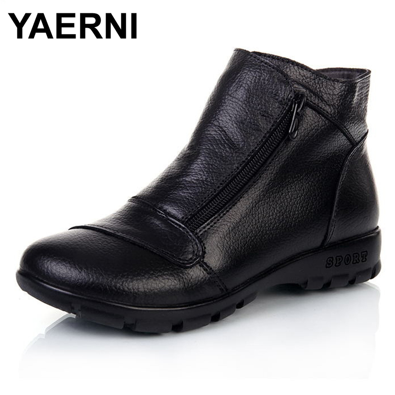 YAERNI Winter Snow Boots Women Genuine Leather Flat Ankle Boots 2017 New Women Shoes Woman Casual Warm Shoes Women Boots yaerni new 2017 women winter ankle boots handmade velvet flat with boots shoe comfortable casual shoes women snow boots
