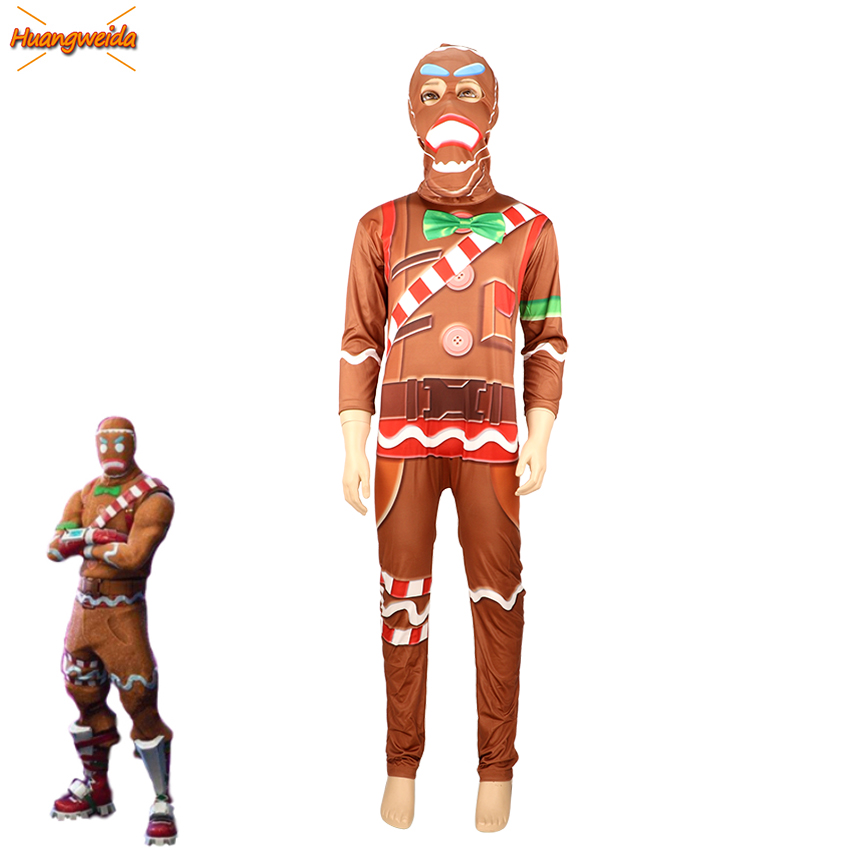 Gingerbread Cosplay Boys Costume Kids Party Halloween Man for Costumes Fancy Dress Jumpsuits Mask