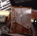 Meeboy Leather crocodile pattern messenger neutral men and women wild casual shoulder bag