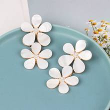 Statement White Flower Drop Earrings 2019 New Fashion Jewelry Boho Pendientes