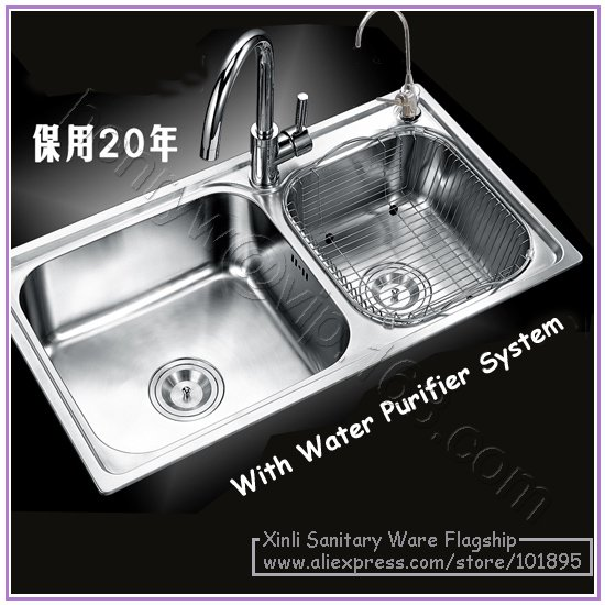 Retail Luxury Sus 304 Stainless Steel Kitchen Sink Double Bowel Br Faucet Purifying System Free Shipping L15560 In Sinks From Home