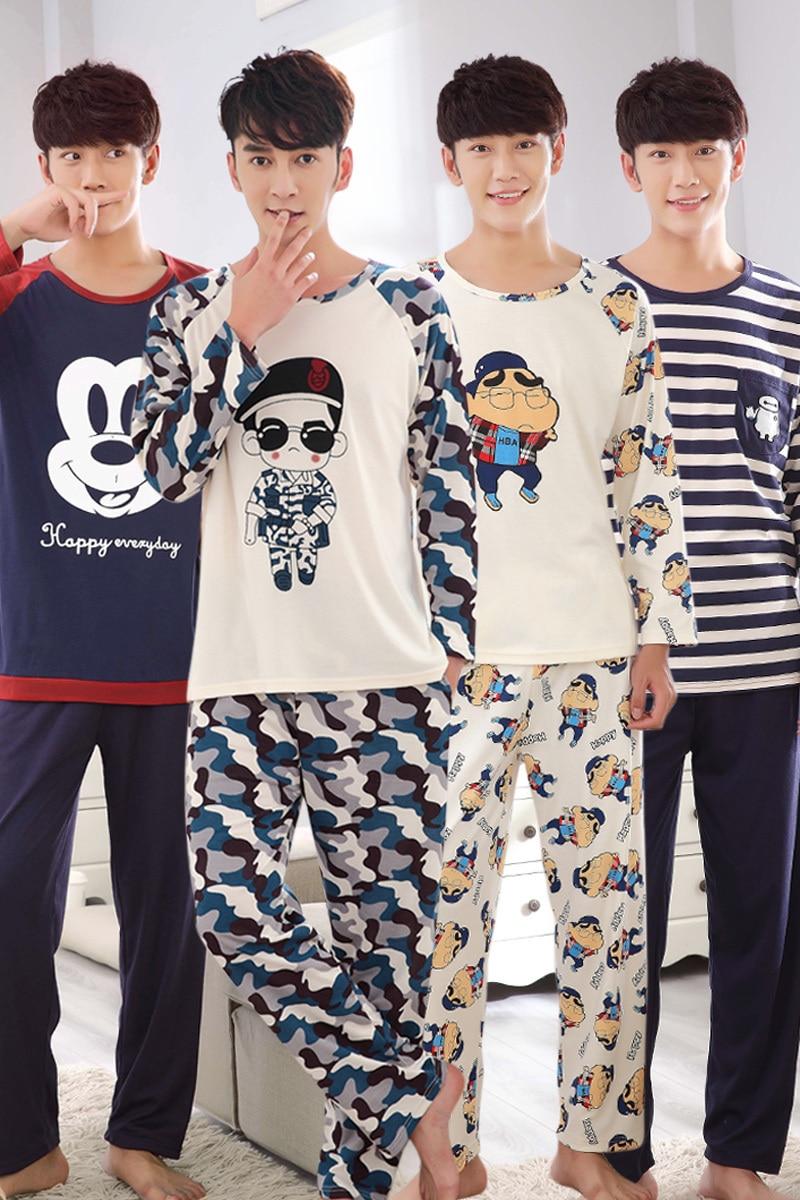 M-5xl Men Pajama Set Spring And Autumn Long Sleeve Cotton Man Pyjamas Cartoon Stripe Pajamas Plus Size Casual Sleepwear #3