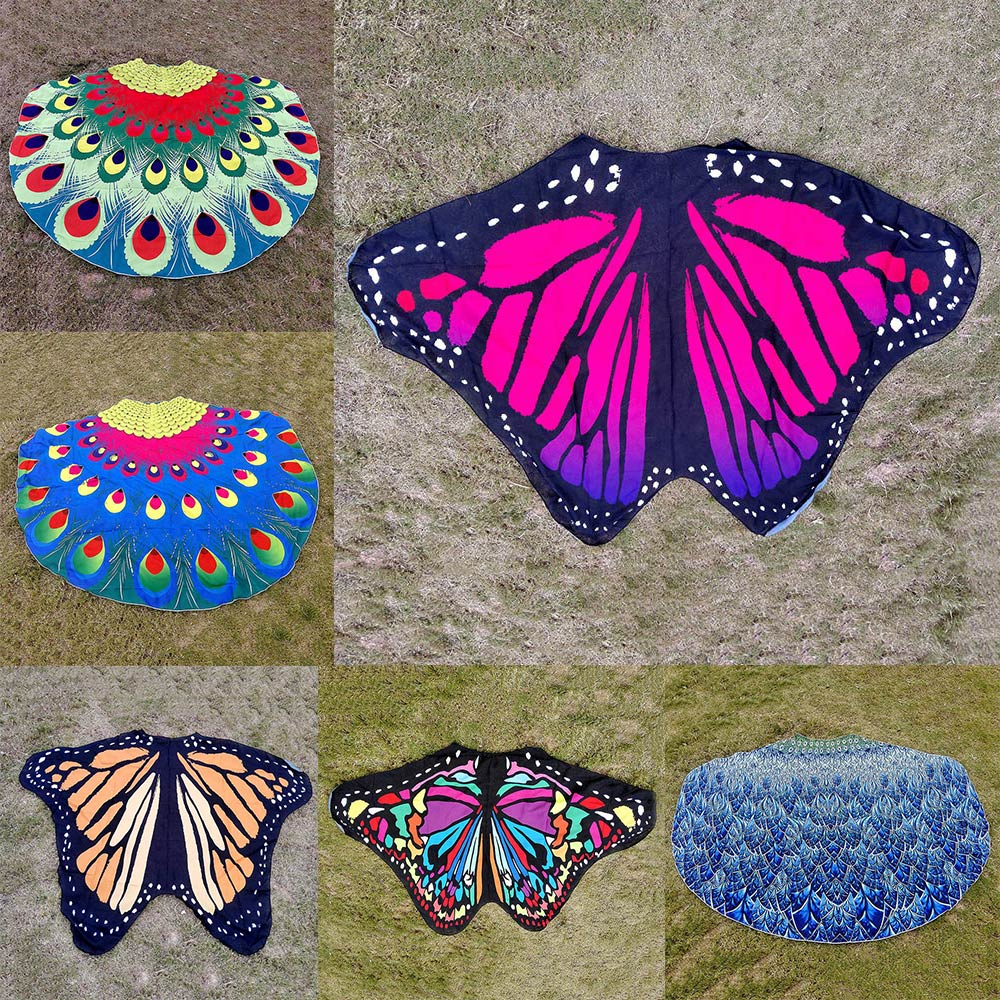 NEW Butterfly Shape Beach Cover Up Women Beachwear Towel Peacock Print Beach Mat Blanket Swimsuit Cover Up Bathing Suit Cover Up