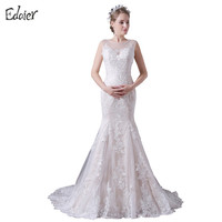 Ivory Champagne Mermaid Wedding Dress Lace Cap Sleeves See Through Back Bride Dresses Bridal Gown Vestido