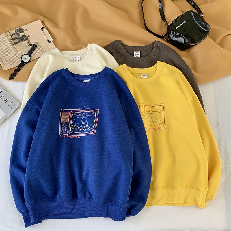Harajuku Sweatshirt Men Oversized 2019 Mens Japanese Streetwear TV Printing Round Neck Male Hip Hop Hoodie