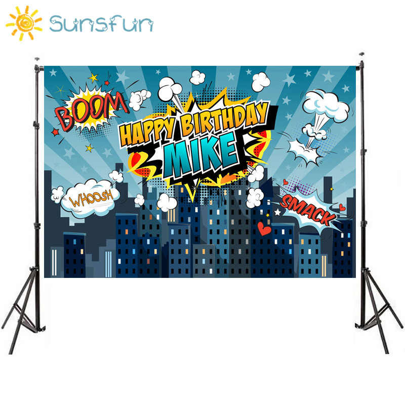 Sunsfun 7x5ft Superhero City Theme Photography Backdrop Children Birthday Party Backdrop for Photo Studio Background Custom