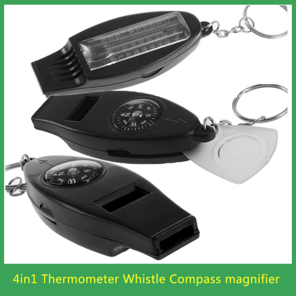 Black 4in1 Mini Survival Tool Thermometer Whistle Compass free shipping