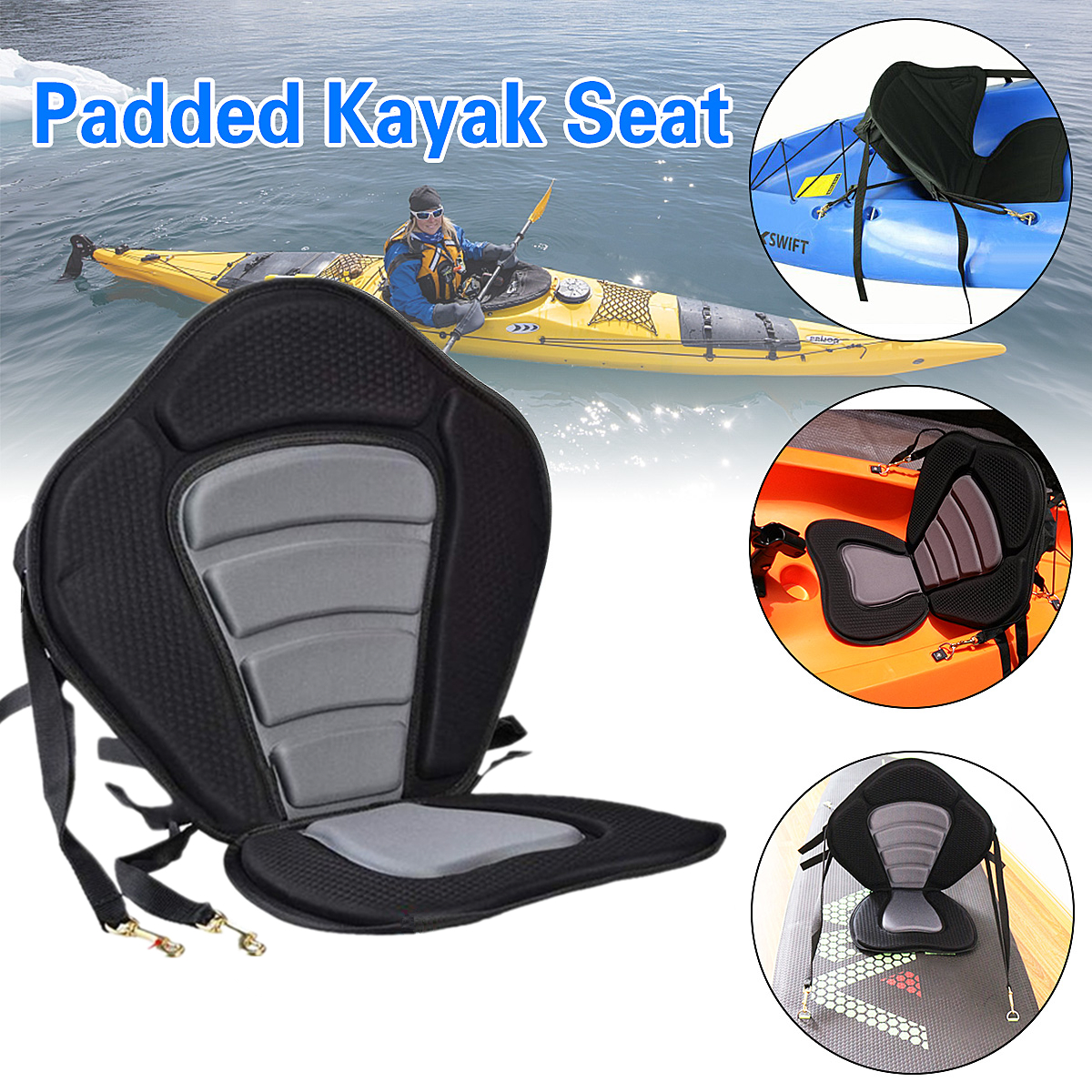 Kayak Cushion Deluxe Padded Kayak / Boat Seat Portable Soft Antiskid Padded Base Adjustable High Backrest Back Cushion Canoe ...