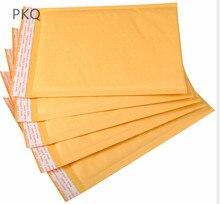 100 adet 19 boyutları sarı kalınlaşmış Kraft kağıt kabarcık zarf çanta postaları yastıklı nakliye zarf kabarcık posta çantası
