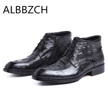 New mens luxury embossed leather ankle boots autumn winter shoes men fashion business dress work boots man black wedding shoes