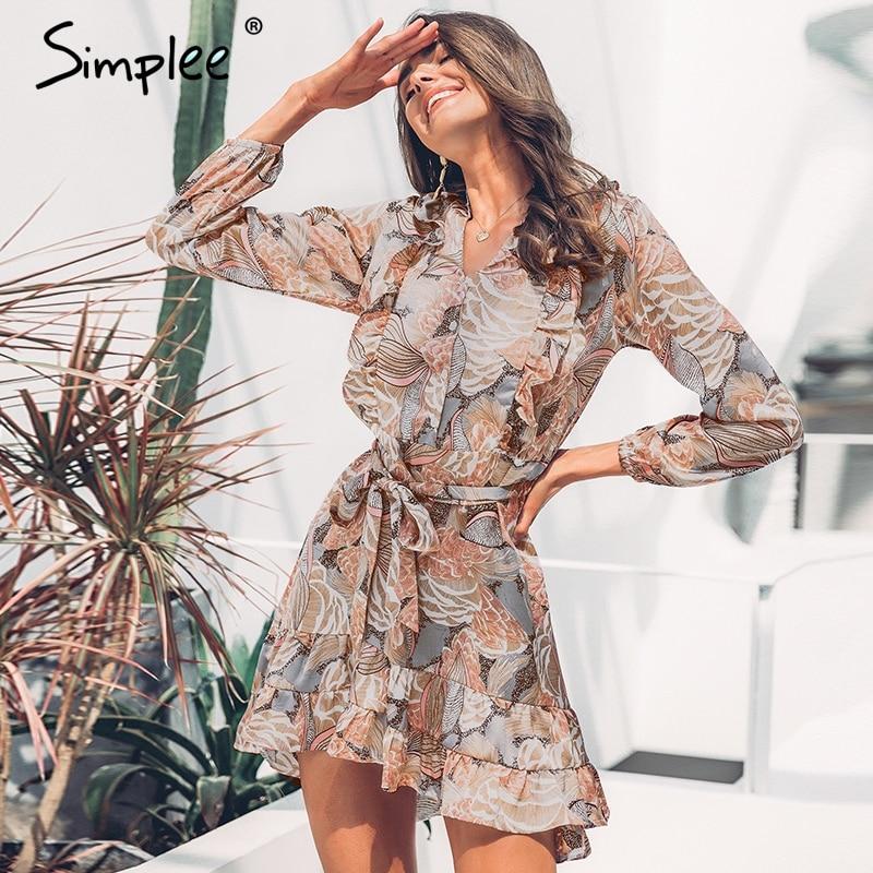 Просто, элегантно, цветочный принт, женское Короткое платье-рубашка с v-образным вырезом, с длинным рукавом, с рюшами, атласное, vestidos, весенне...