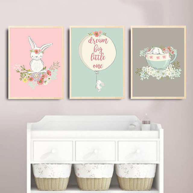 Rabbit Balloon Poster Nursery Wall Art Canvas Print Nordic Style Painting Picture Room