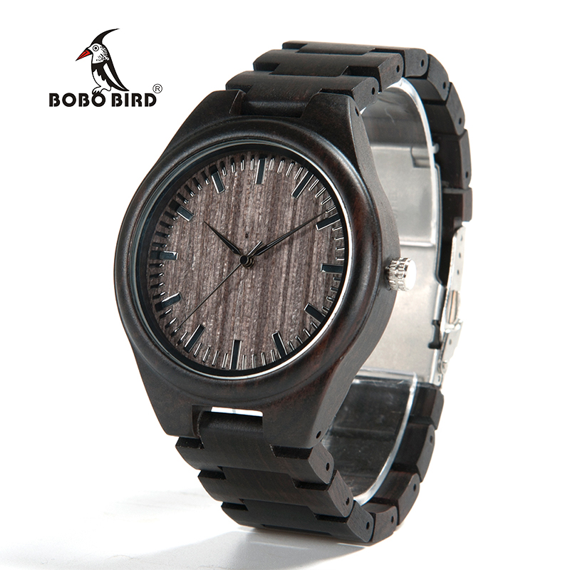 BOBO BIRD 2017 Men's Wood Wristwatch Classic Folding Clasp Japan 2035 Movement Quartz Watch with Wood Link Strap bobo bird o01 o02men s quartz watch top luxury brand bamboo wood dress wristwatch with classic folding clasp in wood gift box