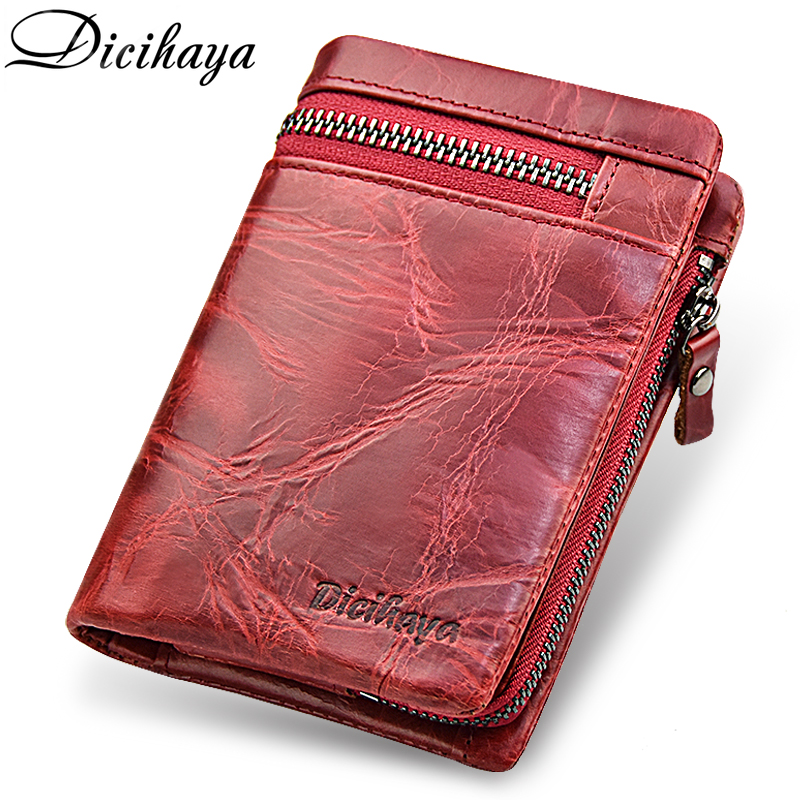 DICIHAYA High Capacity Card Holder Zipper Wallet Women Genuine Leather Wallet Brand Red Purse Coin Bag Short Women Leather Purse